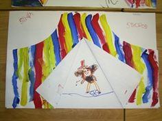 De kinderen schilderen strepen naast elkaar op een vel papier. Knip daar een circustent van en laat de kinderen tekenen wat er in de tent te zien is