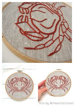 Crab embroidery kit DIY embroidery hand by iHeartStitchArt on Etsy