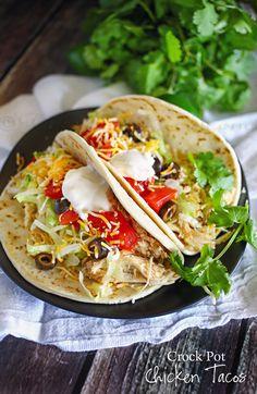 Best Crock Pot Chicken Tacos on MyRecipeMagic.com