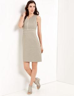 Dress with a jacquard pattern, caramel/offwhite figured buy now | GERRY WEBER