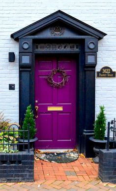 front door paint colors - Want a quick makeover? Paint your front door a different color. Here's some inspiration for you. Purple Front Doors, Front Door Paint Colors, Purple Door, Front Door Design, Front Door Entrance, Front Door Decor, Doorway, Entrance Ideas, Door Ideas