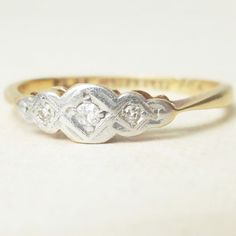 Art Deco Geometric Diamond Trilogy Ring 18k Gold & by luxedeluxe