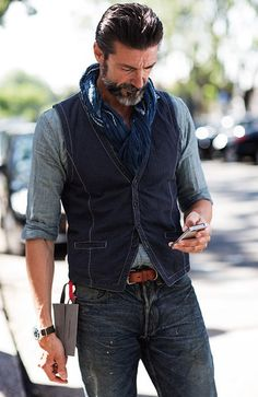 Perfect display of coordination without overkill. Any lesser man would make a mess of this much denim.