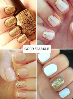 Gold nails - glitter nail ideas and golden nail art http://onefabday.com/nail-art-summer-2013/