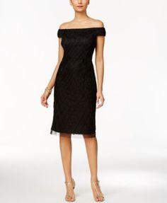 Adrianna Papell Off-The-Shoulder Velvet Beaded Dress   macys.com