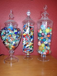 I put this in my teens room, his treasures from his youth, marbles, legos and bouncy balls, love seeing this in his room