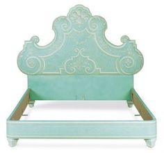 A WHITE AND AQUA PAINTED AND UPHOLSTERED HEADBOARD AND FRAME,