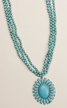 Ashlyn & Rose Turquoise Beaded Flower Concho Multi Strand Necklace | Cavender's