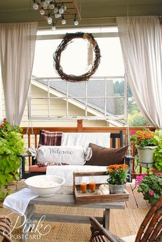 """*Pink Postcard*: Rustic fall porch - especially love the """"ladder lighting"""" but all so cozy"""