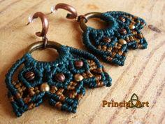 Pendientes macrame laton. Macrame earrings brass. Macramé Boucles d'oreilles en laiton. de PrincipiArt en Etsy