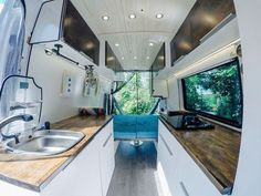Ideas and inspiration for building a DIY mercedes sprinter van conversion. ideas, camper conversion advice and tips to build a van for adventure. Build A Camper Van, Birch Cabinets, Best Family Cars, Sprinter Van Conversion, Chrysler Pacifica, Honda Odyssey, Rv Living, Living Area, Motorhome