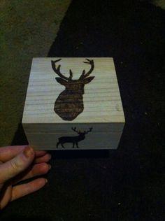 Wood burning stag box Wood Burning, Box, Boxes, Woodburning, Firewood