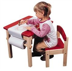 Kids Wooden Art Table and chair; assembly required