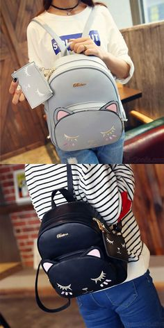 c53bb5d269 Fashion PU Cute Cat Printing Leisure Kitty Cartoon Kitten School Backpacks  for big sale !