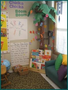 Love the 3D Chicka Chicka Boom Boom  tree!  I like the songs on the wall as well.  I would add some seating that an adult could sit on as well, maybe a cushion or pillow.