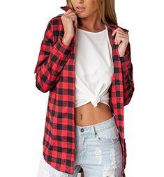 f3b99d1804 Zago Womens Stylish Plaid Unbalanced Hem Button Down Shirts Red XS --  Amazon most trusted e-retailer #PrettyDresses