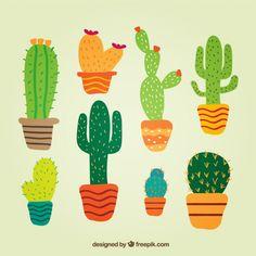 Cactus en estilo lindo Vector Gratis