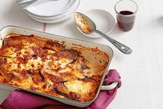 """This """"lasagna"""" recipe cuts out the noodles altogether and uses fresh summer eggplant instead. Eggplant slices, instead of noodles, plus low-fat cheeses save 212 calories, 4 grams of fat, and 33 carbs per serving.  Recipe: Eggplant Lasagna"""