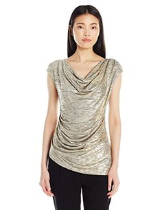 Calvin Klein Women's S/L Top W/ Angle Bottom, Gold, XS Ca...