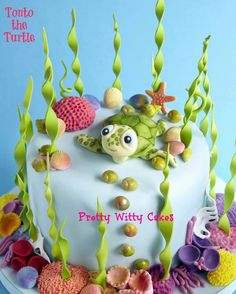 Sea turtle cake along with a Birthday Sea Animal Birthday CD...sings your child's name on their big day!  Order CD at www.MyMusicCD.com #personalizedbirthdaycd