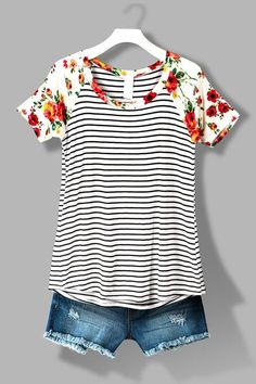Striped tee with floral neckline and sleeves. Cutoffs. Ask your STITCH FIX stylist for this outfit when you SIGN UP TODAY!!! #sponsored #stitchfix