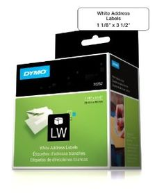 """DYMO Address Labels for LabelWriters, White, 1-1/8"""" X 3-1/2"""", 350 Labels/Roll, 2 Rolls/Box, 700 Labels (30252)"""