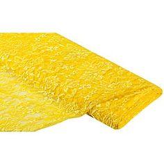 """Tissu dentelle """"Marie"""", jaune, tissu multi-usage, extensible en largeur,très léger, idéal pour décorer des vêtements, pour confectionner des hauts extraordinaires pour personnaliser vos vêtements estivaux par des remplacements.Composition : 100 % polyesterPoids : env. 90 g/m²Largeur : 150 cm"""