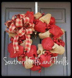 Burlap Wreath Berry Wreath Wreath Rustic Wreath by SouthernThrills