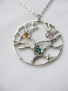 Tree of Life Necklace Customized Birthstones Family by Thielen Nautical Earrings, Starfish Earrings, Nautical Jewelry, Shell Earrings, Crystal Earrings, Family Tree Necklace, Tree Of Life Necklace, Tree Of Life Pendant, Ocean Jewelry