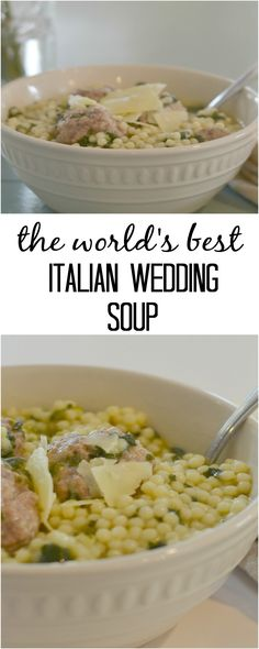 This World's Best Italian Wedding Soup is so delicious the entire family will love it. It's filled with hearty meatballs, delicious pasta… (Soup And Sandwich Recipes) Italian Wedding Soup Recipe, Italian Soup, Italian Cooking, Old Italian Recipes, Wedding Recipe, Italian Bread, Healthy Dinner Recipes, Soup Recipes, Cooking Recipes