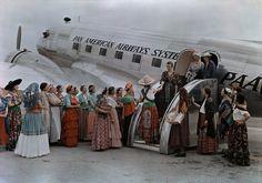 Women greeting a Pan Am Flight, Texas, 1939