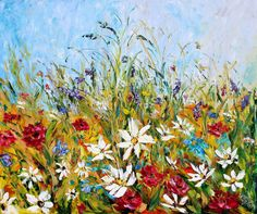 Painting original oil Wildflowers Landscape palette knife on canvas fine art impressionism by Karen Tarlton