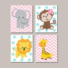 JUNGLE Nursery Wall Art ELEPHANT Monkey Giraffe Lion Zoo