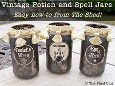 Vintage Potion and Spell Jars for Halloween! Excellent tutorial on how to make your own Halloween apothecary jars in an elegant vintage style. Mason Jar Projects, Mason Jar Crafts, Mason Jars, Diy Jars, Bottle Crafts, Glass Jars, Halloween Projects, Halloween Crafts, Halloween Ideas
