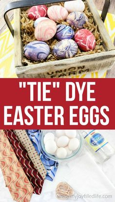 Tie Dye Easter Eggs - A creative and fun way to decorate Easter eggs. Use old neck ties to Tie Dye Easter Eggs. #eastereggs