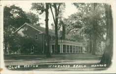 1944 RPPC Postcard Monroe Michigan CLUB HOUSE Woodland Park by Clinton Knapp