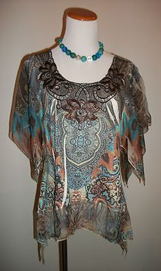 Dress Barn Womens Size PETITE MEDIUM Blouse Top Graphic Geometric Teal Brown