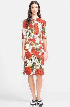 Dolce & Gabbana Dolce&Gabbana Rose Print Brocade Sheath Dress on shopstyle.com