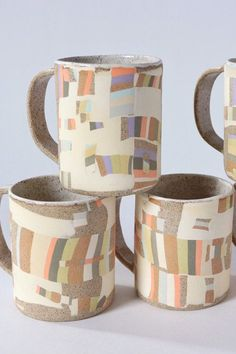 A stack of mugs is always a good idea. The inlay mugs are made by hand-tinting clay which is inlaid into a tan, speckled clay surface to create unique color combinations and patterns, no two will be exactly the same. #handmademug