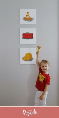 Flipside Prints   Construction themed wall art for boys bedroom or nursery Girls Bedroom, Nursery, Construction, Wall Art, Boys, Prints, Stuff To Buy, Collection, Design
