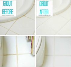 Homemade Grout Cleaner Before and After