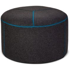 Round Pouf Gray/Blue ($76) via Polyvore featuring home, furniture, ottomans, blue, grey round ottoman, round footstool, grey furniture, round gray ottoman and circular ottoman