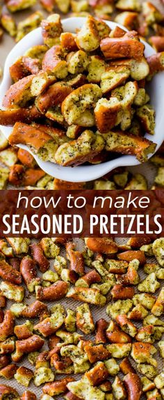 Baked hard pretzels seasoned with lemon pepper, dill, and garlic powder. You wil… Baked hard pretzels seasoned with lemon pepper, dill, and garlic powder. You will not be able to stop snacking on these! Savory Snacks, Yummy Snacks, Healthy Snacks, Healthy Recipes, Healthy Dishes, Appetizer Recipes, Snack Recipes, Cooking Recipes, Appetizers