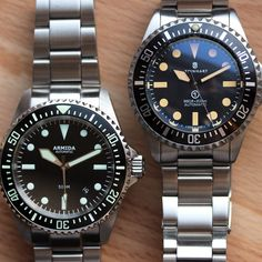 Side by Side: Steinhart Ocean Vintage Military + Armida Cool Watches, Watches For Men, Unique Watches, G Shock, Luxury Watches, Rolex Watches, Steinhart Watch, Rolex Submariner, Automatic Watch