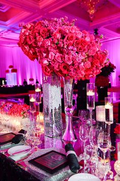 Tall silver mirrored vessels with hot pink roses from Keela and Marion's Las Vegas wedding. Destination wedding planning and design by Tiffany Cook Events Wedding Reception Design, Wedding Designs, Wedding Events, Wedding Table Centerpieces, Floral Centerpieces, Wedding Decorations, Centerpiece Ideas, Dream Wedding, Wedding Day