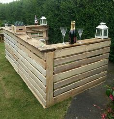 Garden bar-pub area with glassholders-rustic all-weather wood outside drinks nr