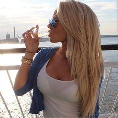 Blonde model girl hair blonde beautiful drink pretty beauty drinking hair color hairstyle hair ideas hair cute hair cuts
