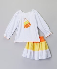 Orange & Yellow Candy Corn Top & Skirt - Infant, Toddler & Girls by Sweet Cheeks #zulily #zulilyfinds