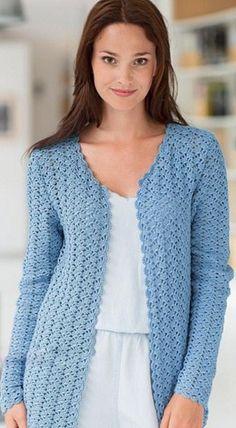 Free crochet diagram for cardigan. Cardigan Au Crochet, Crochet Jacket Pattern, Gilet Crochet, Crochet Coat, Crochet Shirt, Knitted Coat, Crochet Clothes, Crochet Cardigan Pattern Free Women, Blue Cardigan