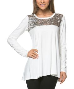 Another great find on #zulily! A La Tzarina Ivory & Silver Sequin-Panel Scoop Neck Top by A La Tzarina #zulilyfinds